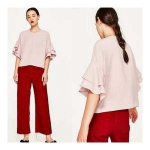 Zara - Frill Sleeve Blouse in Nude Pink - Size S